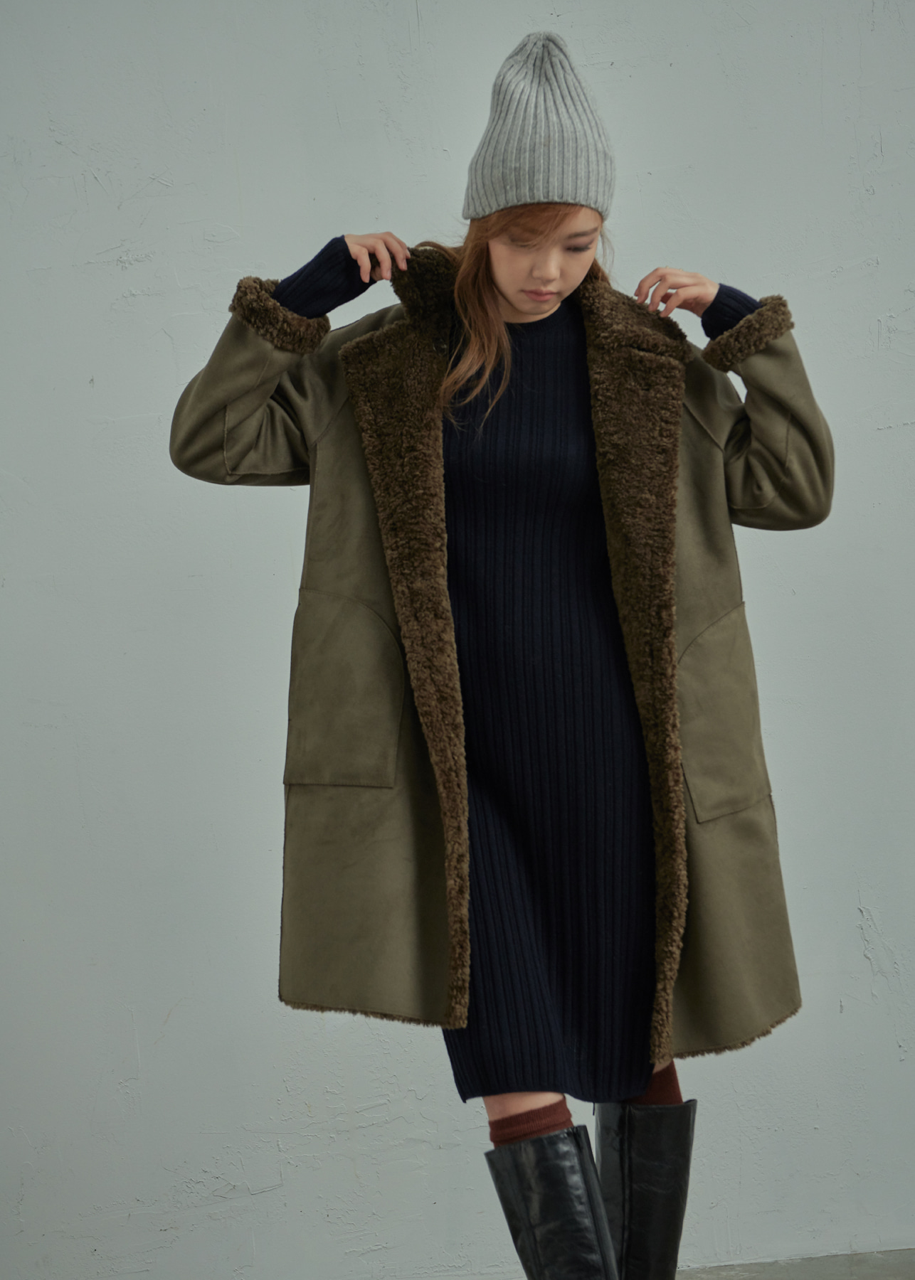 Faux Leather Shearling Oversized Reverible Coat Khaki
