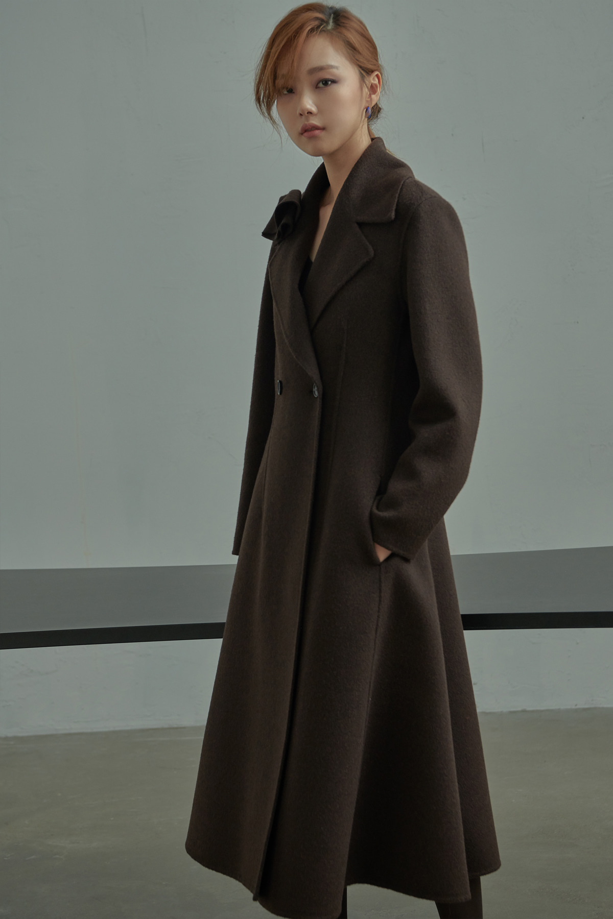 Flared Cashmere Blend Hand Made Coat Melange Brown