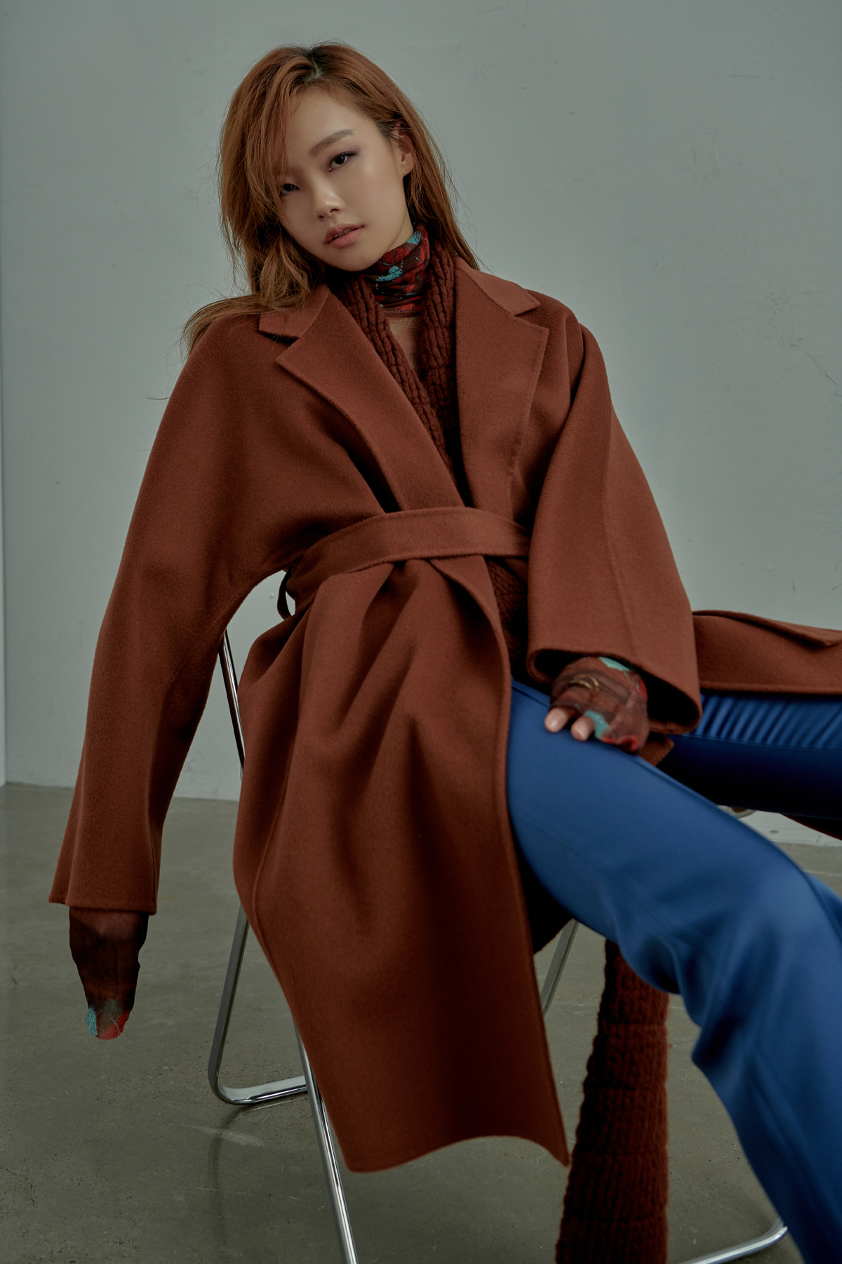 Oversized Belted Cashmere Blend Handmade Coat Brick