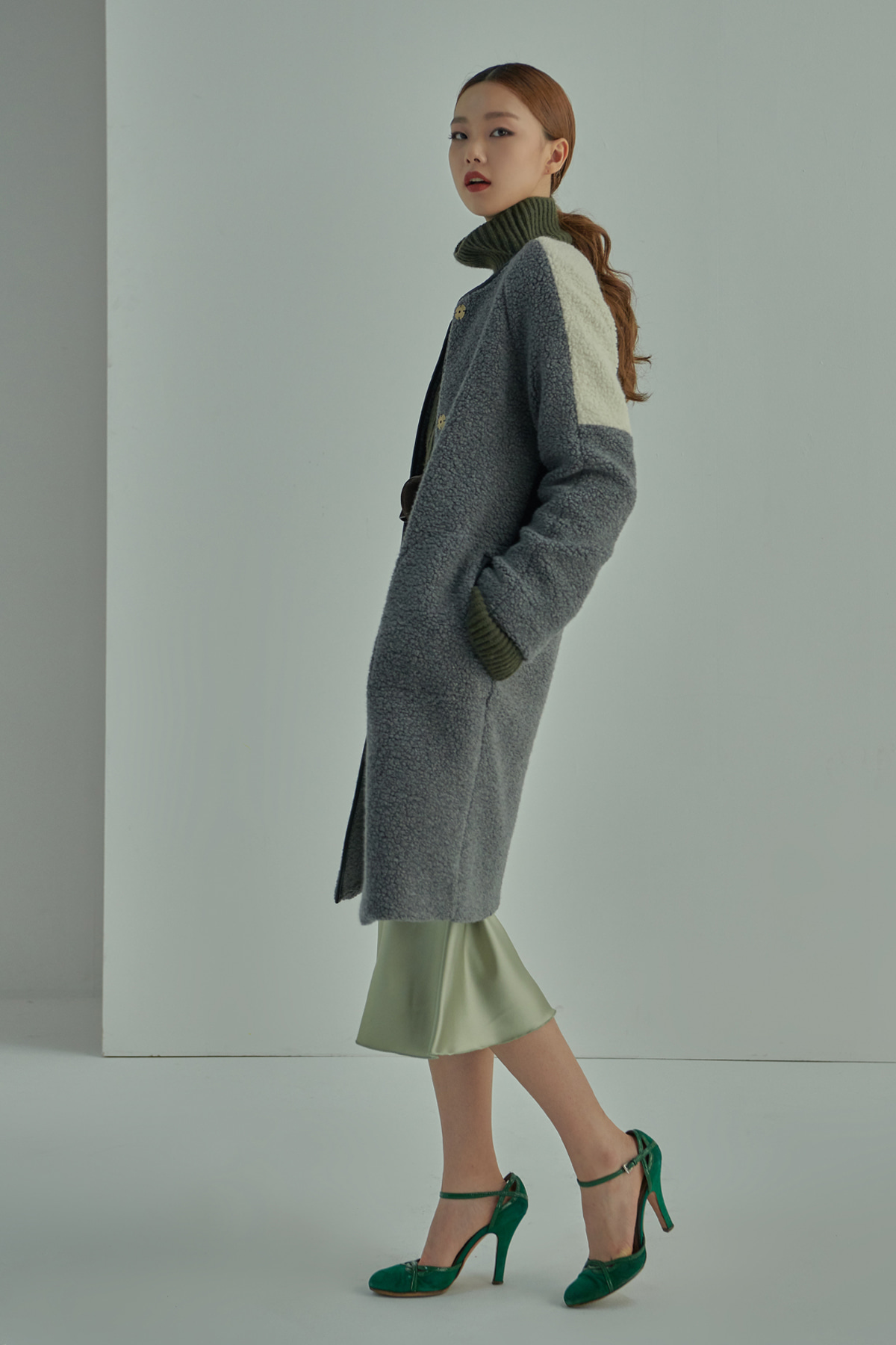 Shearling Textured Cocoon Coat Grey