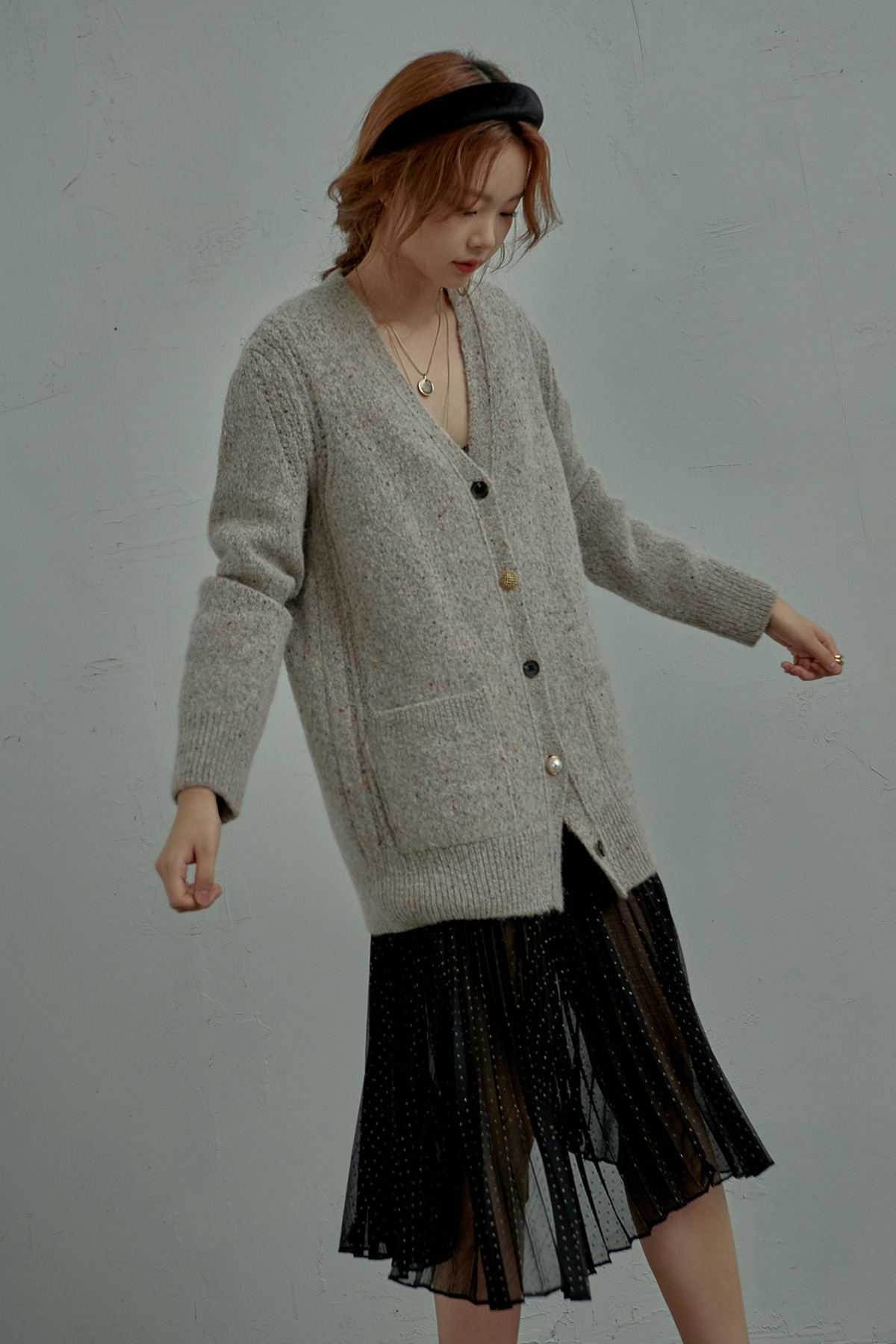 Volumed Sleeve Crafted Button Mohair Cardigan Oatmeal