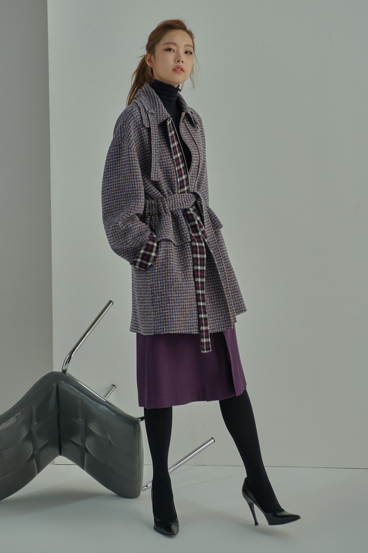 Volumed Sleeve Double Check Pattern Hand Made Coat Plum