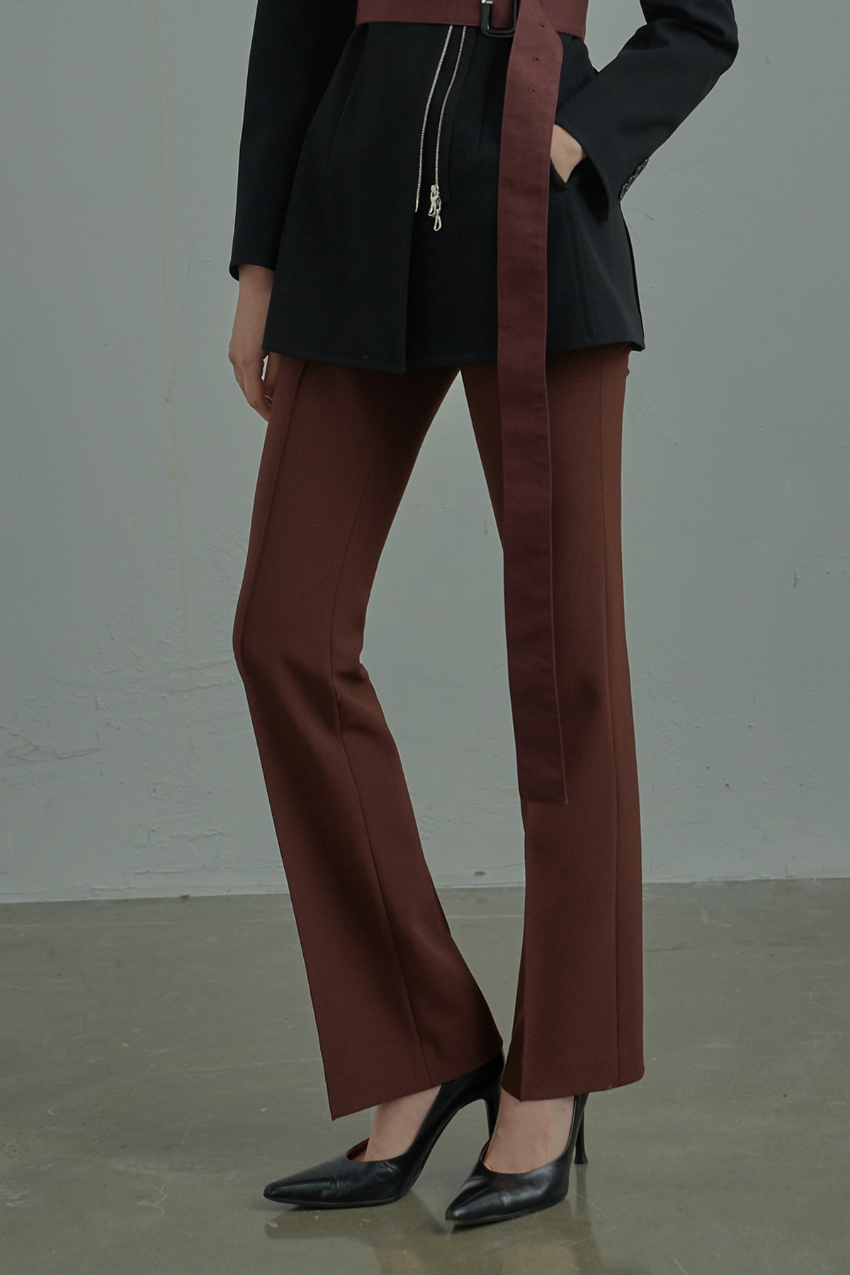Center Stitched Flared Leg Trousers Brick