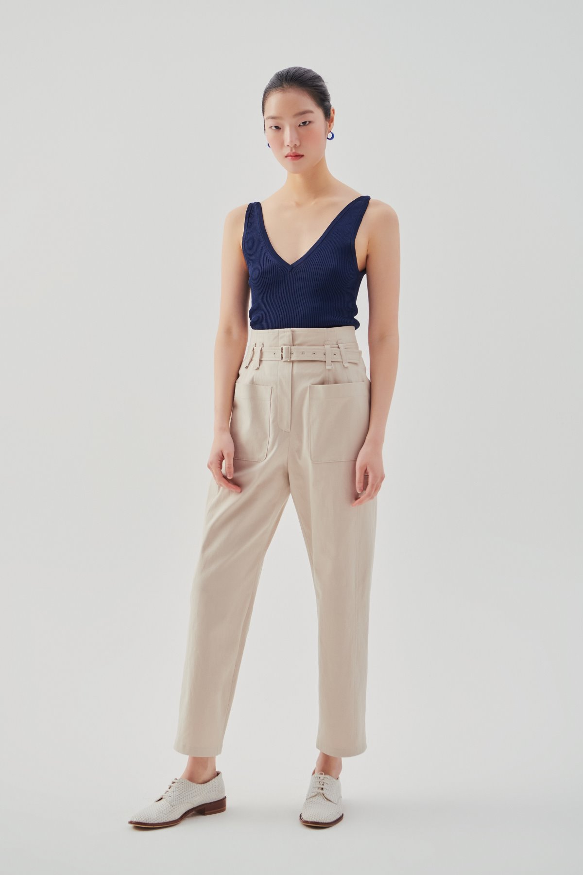 High Rise Utility Pants Light Beige