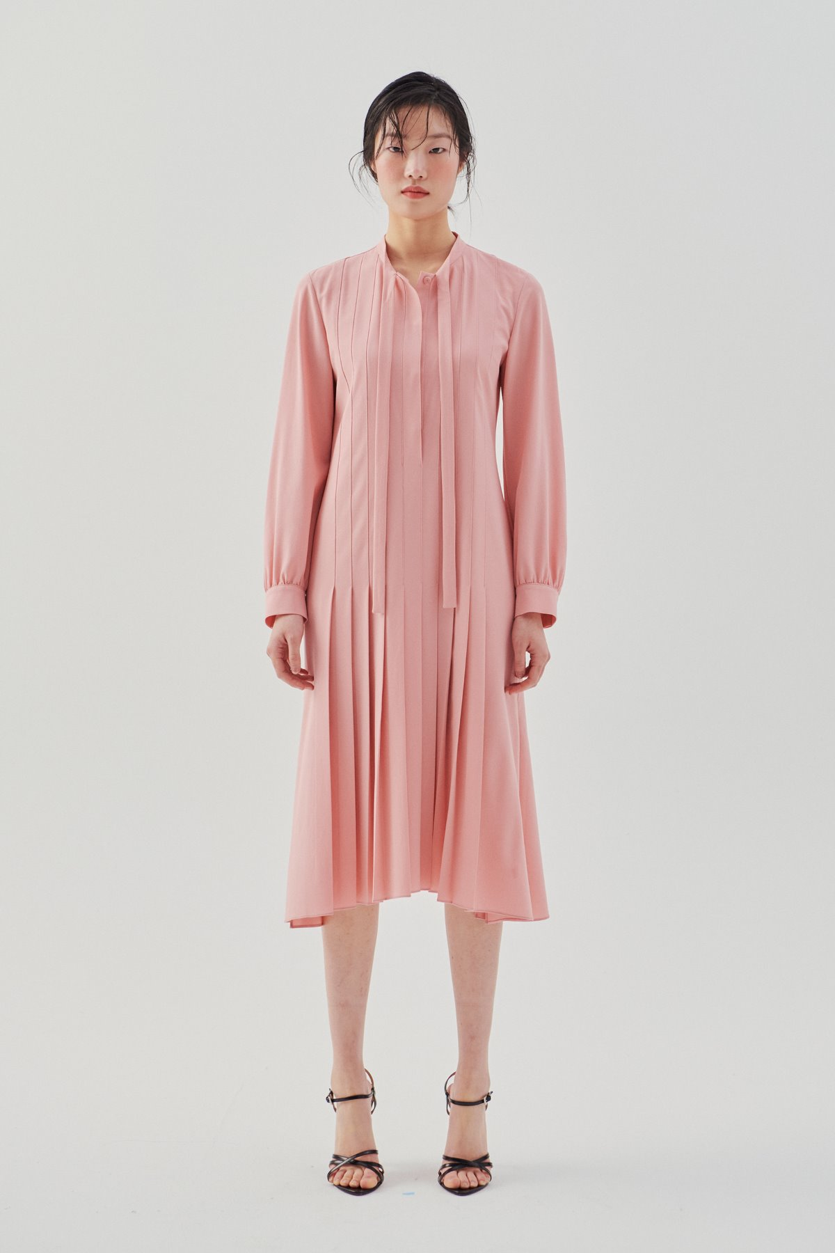 Pleated Flared Dress Pink