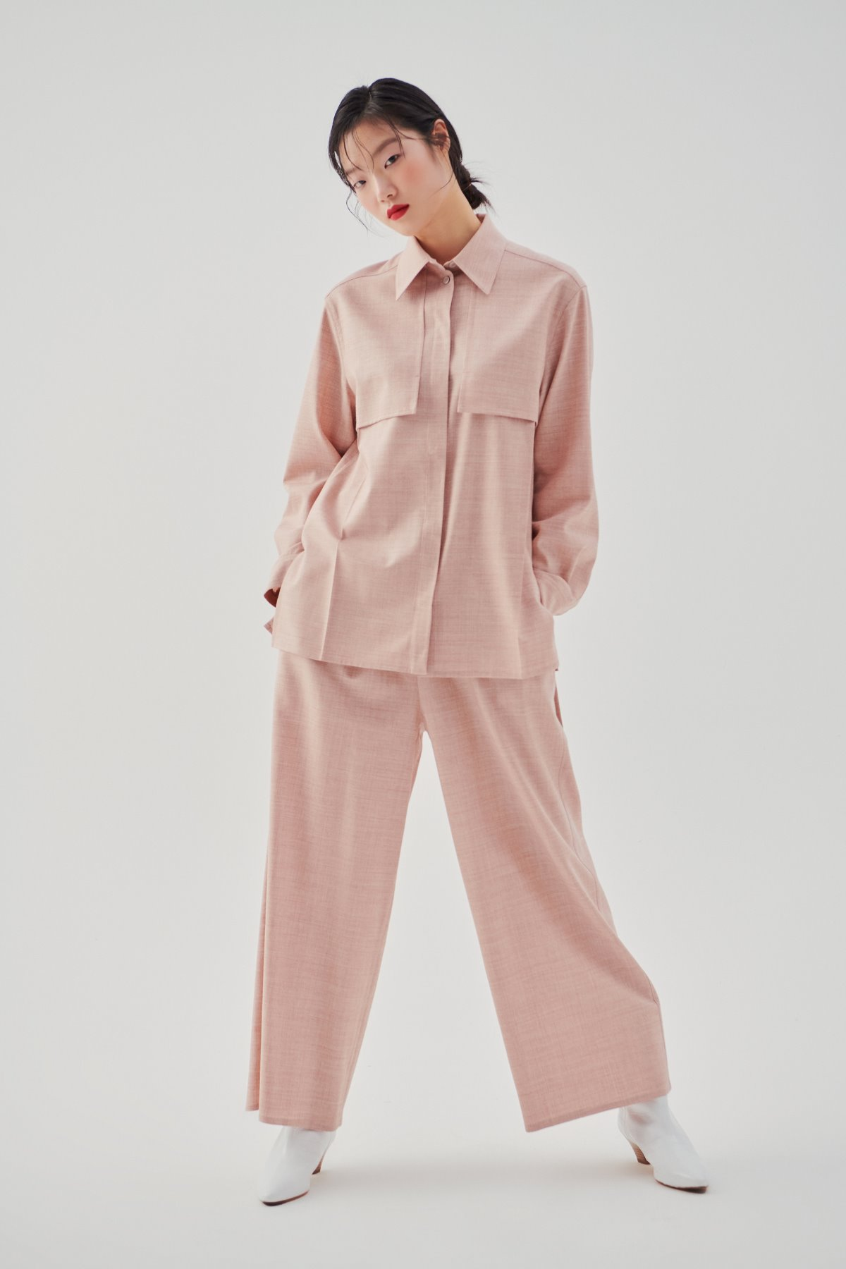 Point Collar Wool Shirt Rose