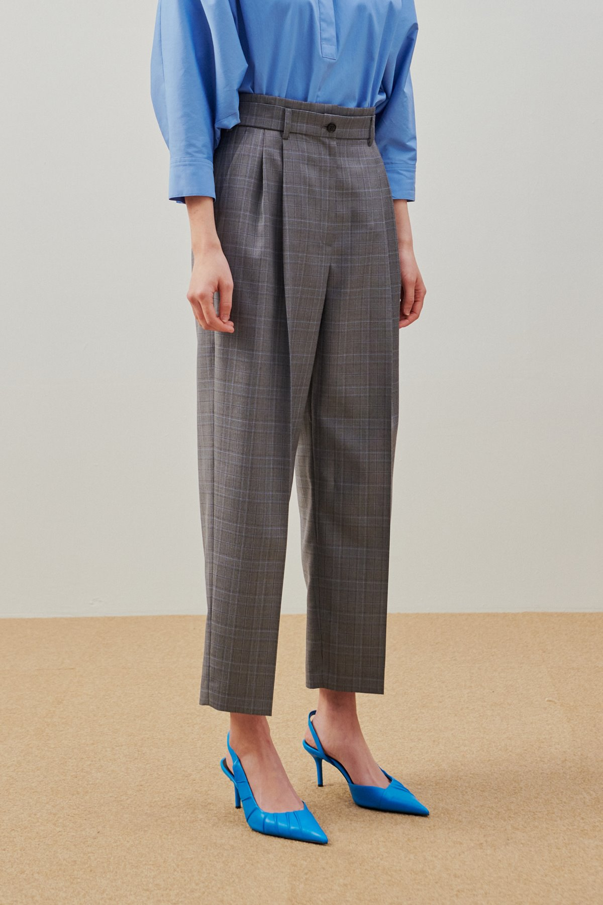 Pleated Wide Leg Pants Grey