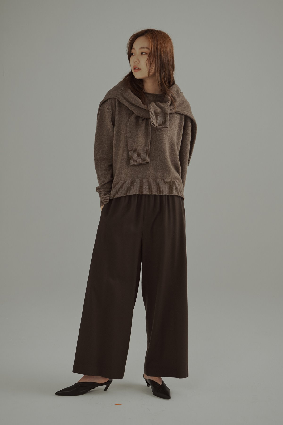 Banded Waist wool Trousers Brown