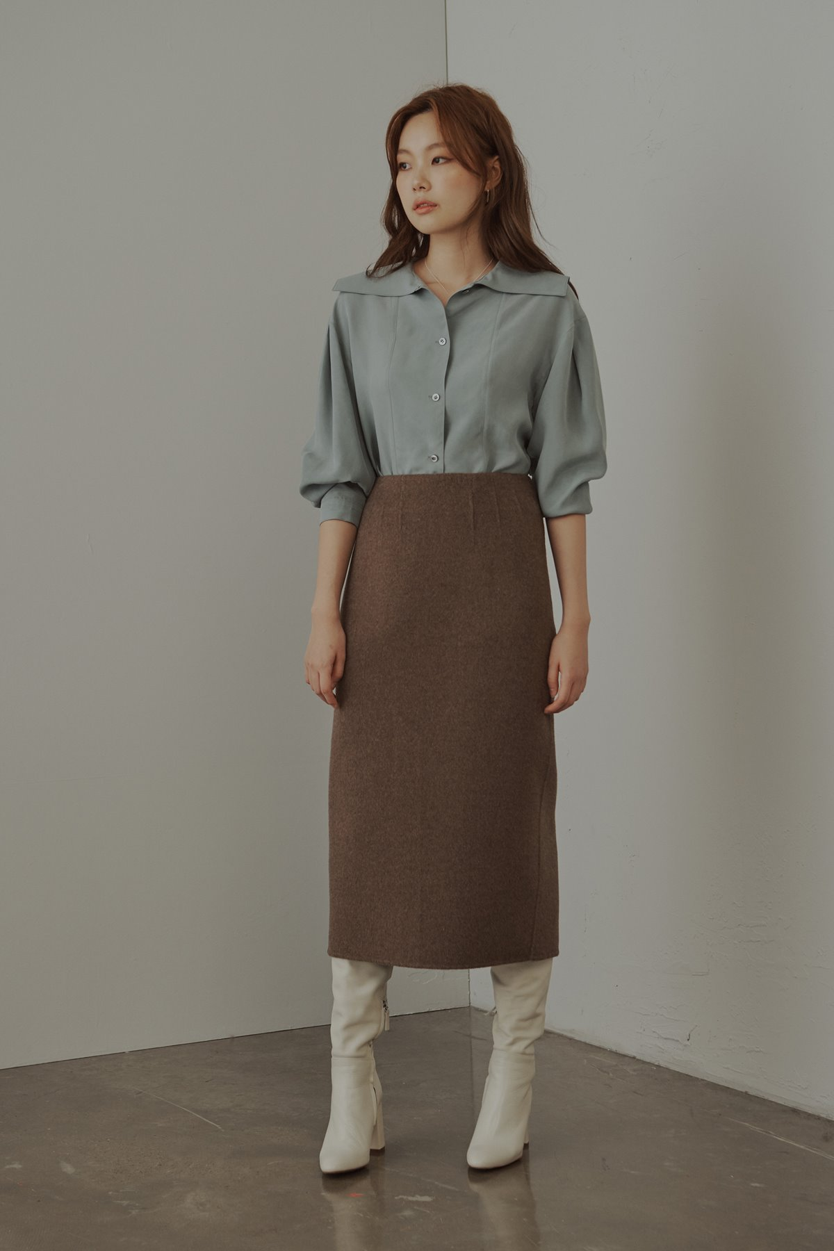 Cashmere Wool Double Face Long Skirt Melange Brown
