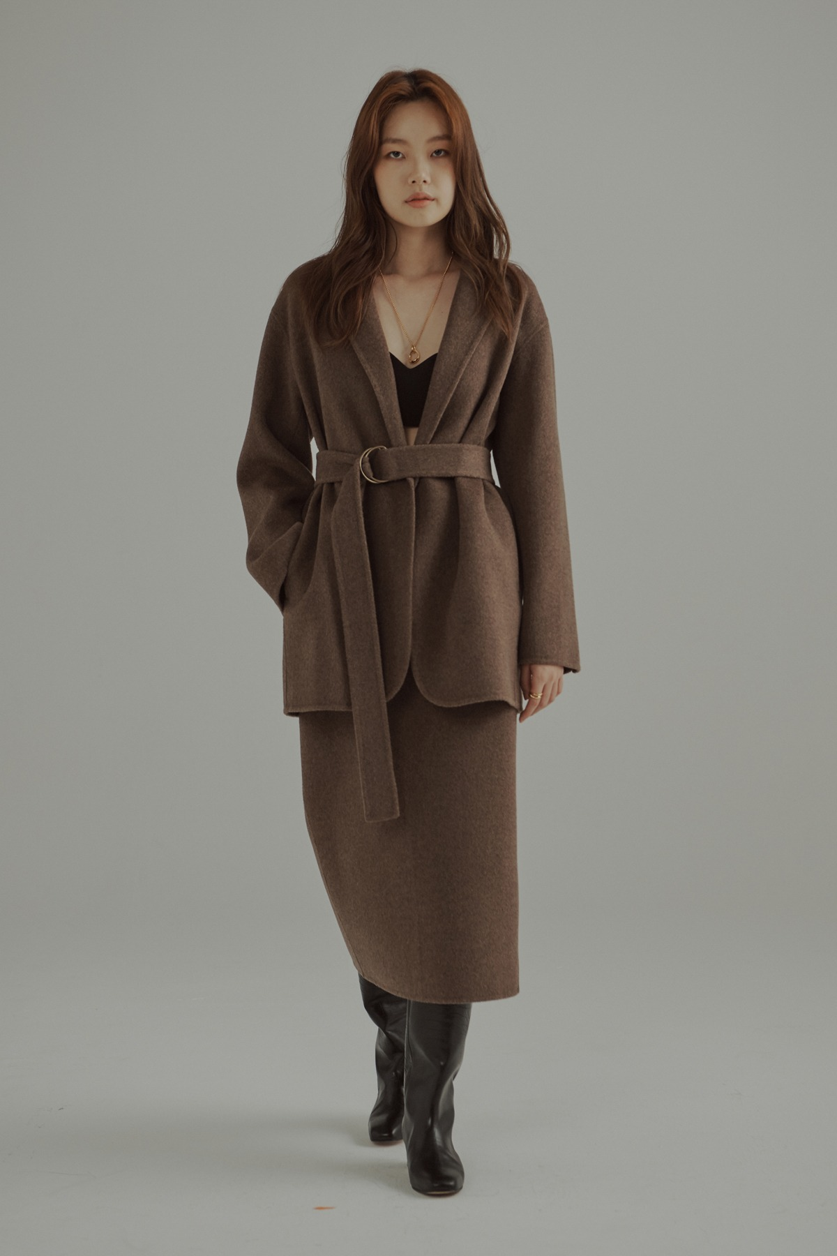Cashmere Wool Double Face Jacket Melange Brown with Belt