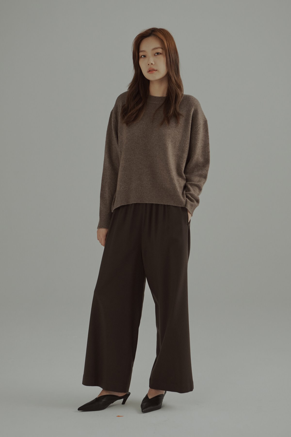 Cashmere Wool Oversized Sweater Melange Brown