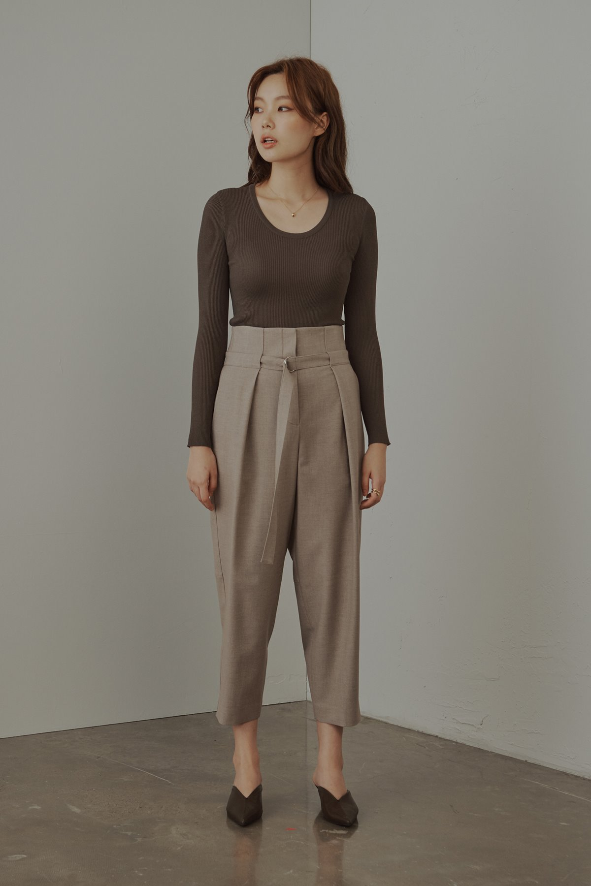 High Rise Wool Blend Tapered Trousers Melange Beige