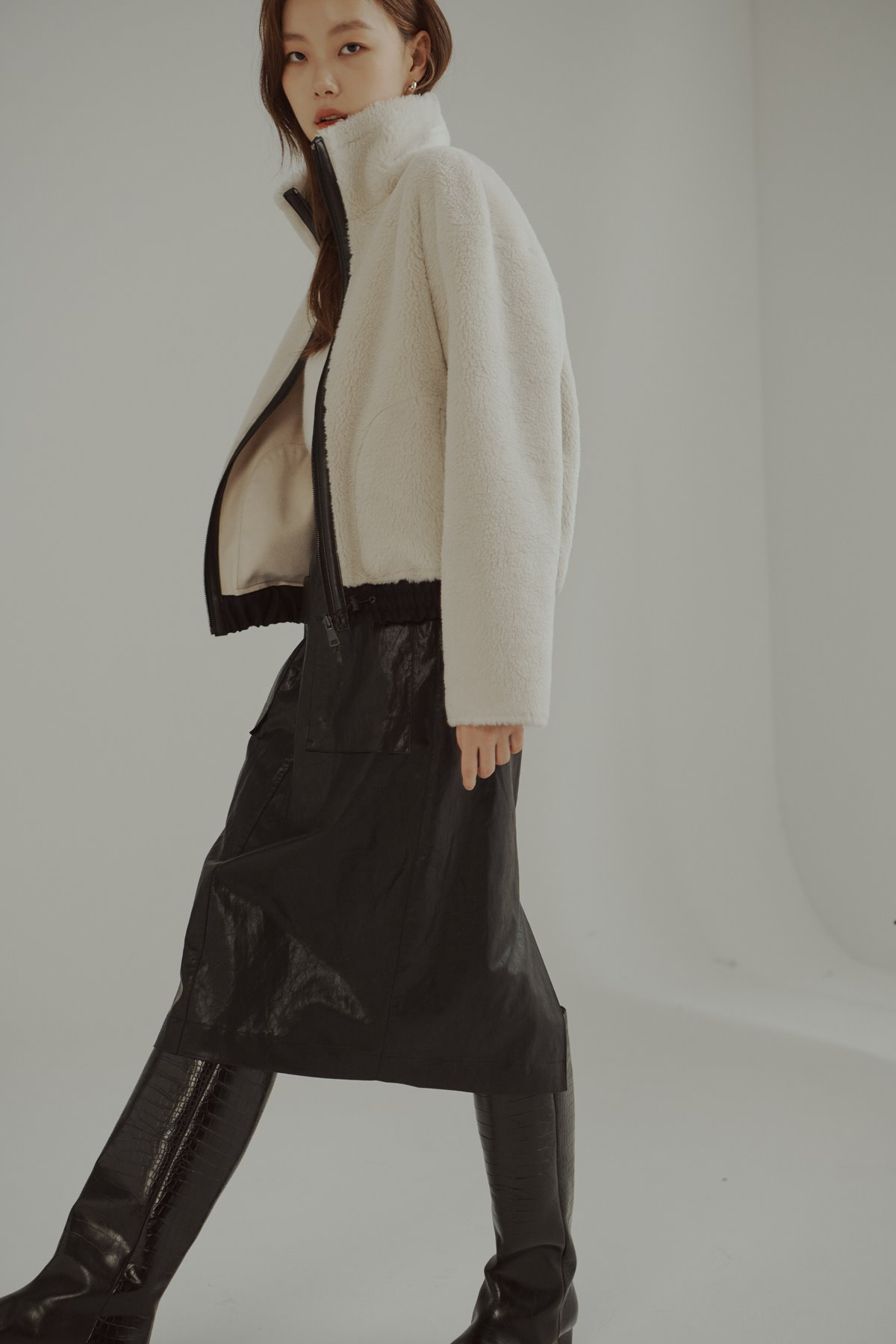 Wool Blend Shearling Jumper Ivory