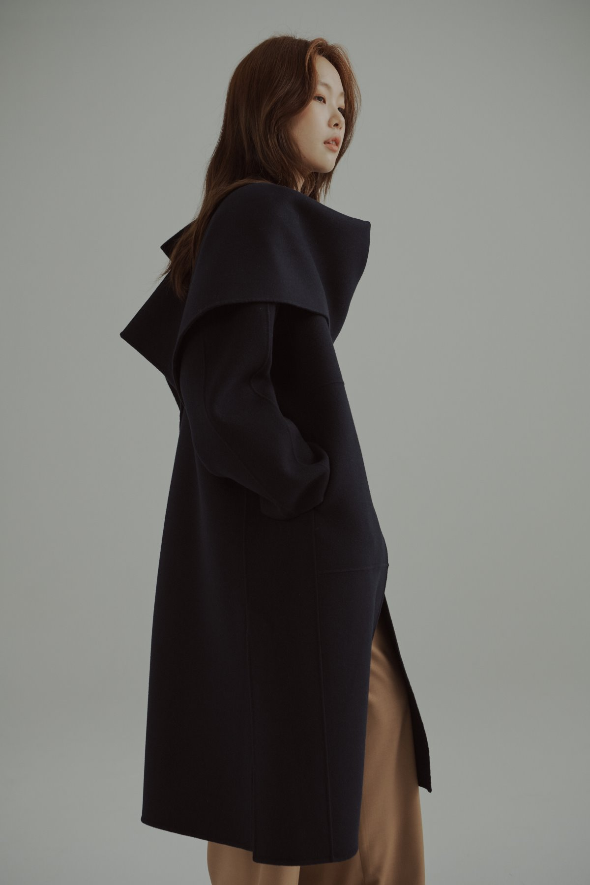 Cashmere Wool  Double Face Coat Navy with Shawl