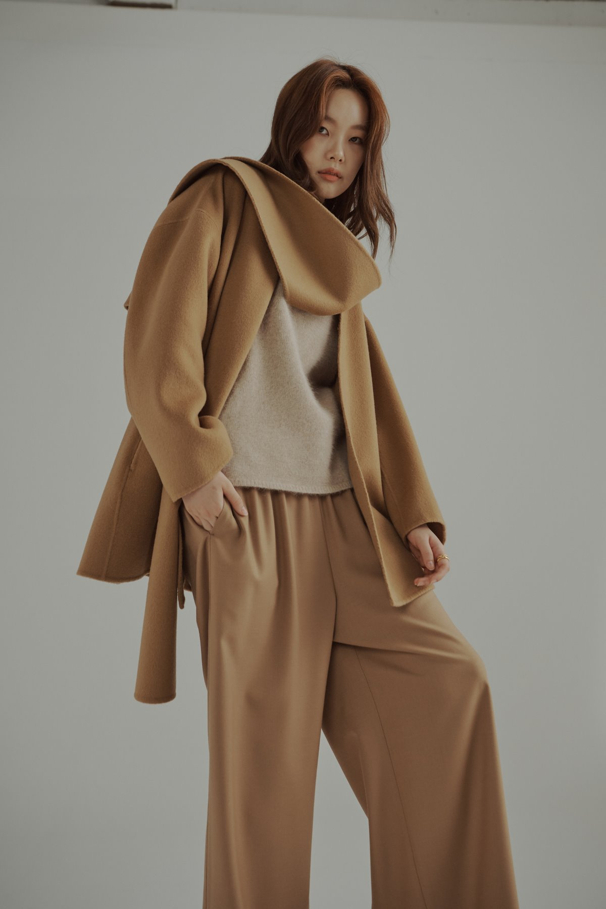 Cashmere Wool Double Face Shawl collar Coat Camel